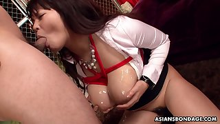 Bountiful breasted Japanese milf Airi Ai is tied up plus fucked hard by two dudes