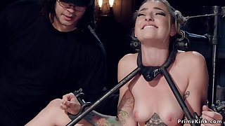 Gagged blond hair babe slave hanged unconnected with reins