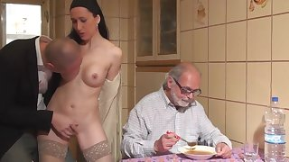 stranger fuck a girl in front be proper of old guy cuckold for domineering