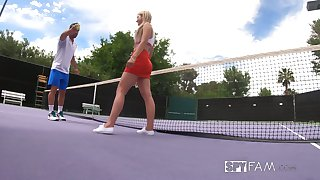Johnny Castle teaches stepsister Serena Avery play tennis and drag inflate big penis