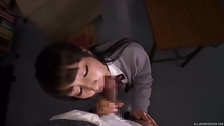 Tight Japanese schoolgirl gets laid give one of her teachers