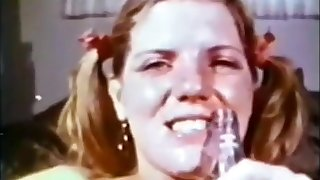 Output pigtails Teen having it away Bottle and 70s afro guy