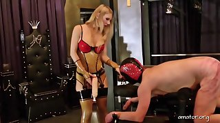 Deviant guy enjoys hard sexual relations and spanking by pretty Lady Estelle