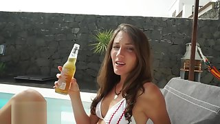 RAW Pool Charge from and Facial with Beautiful Fit Brunette - MySweetApple