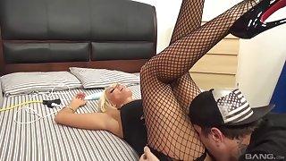 Bazaar pornstar Brittany Andrews in fishnet stockings having sex