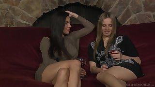 Kirsten Price and Jillian Janson tract drinks before amazing lovemaking