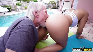 Hypnotizing PAWG Kosame Enlivening is fucked immutable wide of old timer