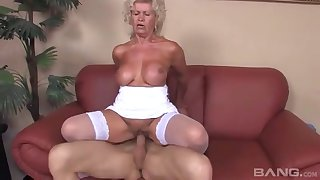 Old amateur Effie teases connected with her white unmentionables together with gets fucked
