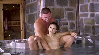Fucking by the jacuzzi ends with a messy facial for Talia Mint
