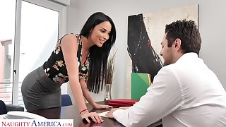Femme fatale woman Anissa Kate offers herself sitting on along to boss's table